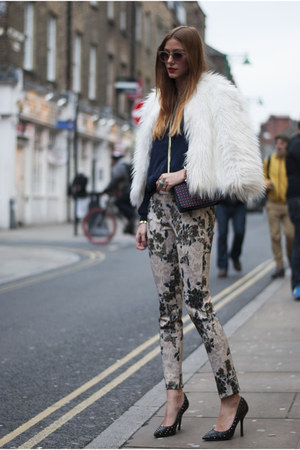 camel flowered Zara pants - white faux fur Boohoo coat - navy Primark jacket