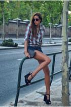 Zara shirt - Louis Vuitton bag - H&M shorts - asos wedges