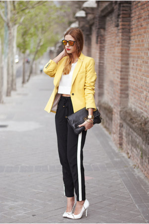 white H&amp;M top - yellow Zara blazer - black Marc by Marc Jacobs bag