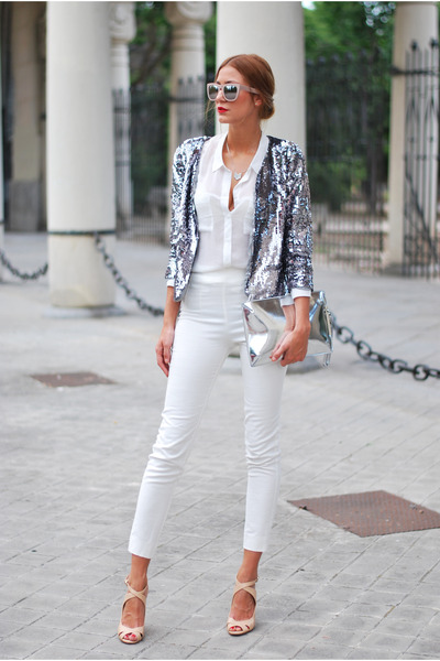 silver sequins Mango jacket - white Bershka shirt - silver Zara bag