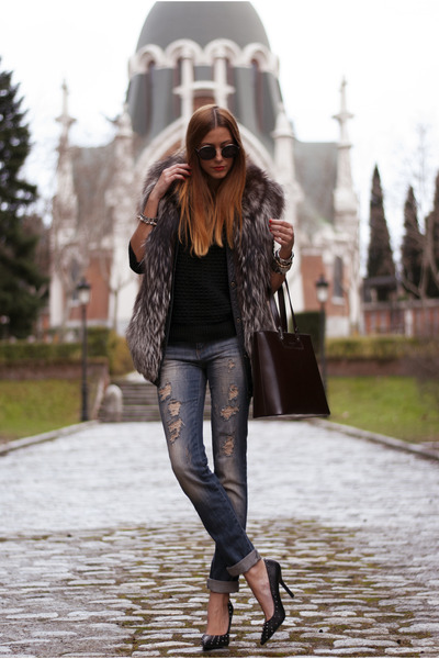 dark brown vintage vest - blue Stradivarius jeans - dark brown lamarthe bag