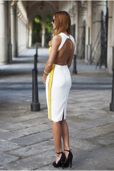 yellow Zara bag - white designed by myself dress - black Zara heels