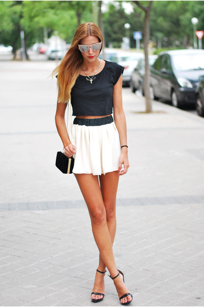 black Zara bag - eggshell made by me skirt - black Zara sandals