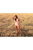 light pink Choies dress - light orange sandals - silver Primark bracelet