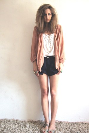 hnm necklace - peach vintage blazer - navy nautical new look shorts