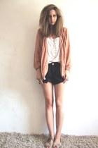 hnm necklace - peach vintage blazer - navy nautical new look shorts