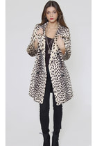 50s Cheetah Print Jacket Faux Leopard Pea Coat