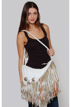 Vintage White Fringe Leather Handbag with Silver Conchos