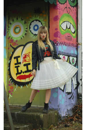 white tutu skirt - jacket - rocker tee t-shirt