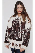 Vintage Indian & Wolf Print Sweater Oversized Ethnic Hoodie Jacket