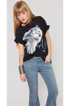 Vintage Wolf Print Black Cotton Tee Shirt
