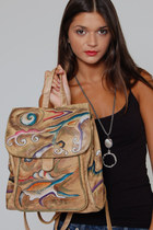 Vintage Hand Painted Leather Handbag Abstract Backpack