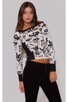 Vintage 90s BLACK & WHITE Sweater Long Sleeve Floral CACHE Pull Over Knit Crop T