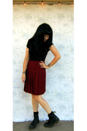 black Dr Martens boots - brick red Talbots thrifted skirt - black t-shirt