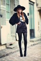 black booties KG boots - black Zara hat - black fuzzy Topshop cape