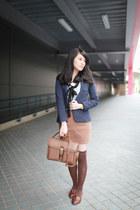 brown loafers - navy Zara blazer - light brown skirt
