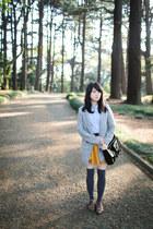 silver coat - black H&M bag - gold Topshop skirt - sky blue blouse