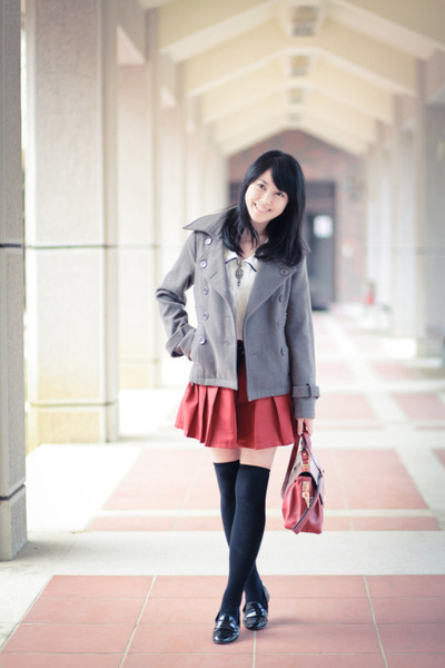 heather gray coat - ruby red bag - brick red skirt - black loafers