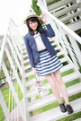 Navy-zara-blazer-white-bag-blue-striped-zara-kids-skirt-black-loafers