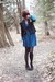 black vintage blazer - turquoise blue dress - black vintage shoes