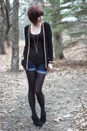 black vintage cardigan - black Target top - black tights - black Dana Buchman bo