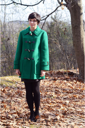 green Pendleton coat - black Diba boots