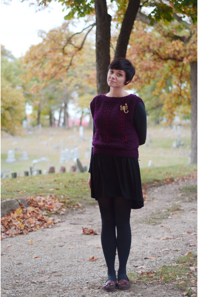 maroon sweater - black fishtail Sugarlips dress - dark brown loafer Dexter flats