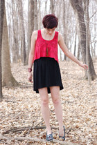 black red overlay Sugarlips dress - blue shoes