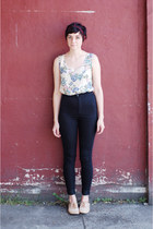 black high waisted jeans - tan Steve Madden shoes - ivory floral vintage top