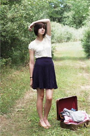 white vintage top - blue vintage skirt - brown shoes