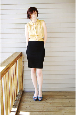 yellow vintage top - black ann taylor skirt - sky blue heels