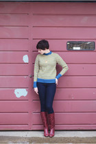 maroon vintage boots - navy asos jeans - light yellow vintage sweater