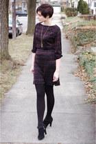 black Dana Buchman shoes - black vintage dress