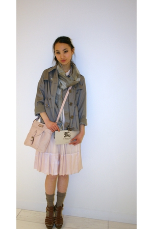 gray Burberry scarf - pink Burberry purse - pink Burberry dress - gray Burberry