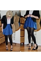 H&M skirt - bcbg max azria blazer - f21 t-shirt - tights - Melissa shoes