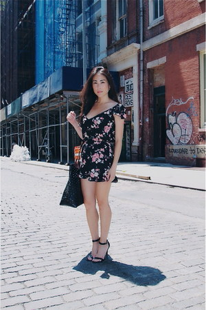 black tote Rachel Comey bag - pink floral Urban Outfitters romper