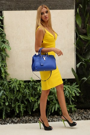 yellow Dsquared2 dress - navy YSL bag