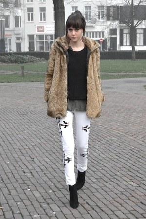 Ebay jeans - fur Zara coat - H&M top - Zara heels