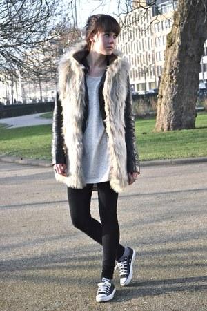 leather Zara jacket - furry Zara vest - corduroy River Island pants