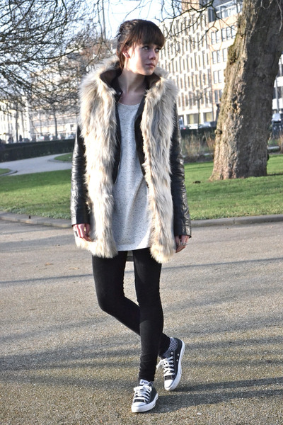 leather Zara jacket - furry Zara vest - corduroy River Island pants