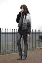 Isabel Marant boots - furry H&M coat - H&M Trend jumper