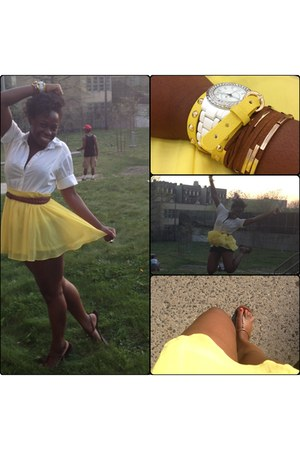 yellow Forever21 skirt - white shirt - brown belt - brown a&f sandals