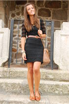 brown Bimba&Lola purse - brown vintage shoes - black H&M dress