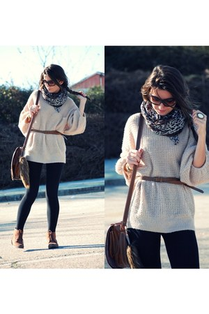 Zara boots - Queens Wardrobe sweater - foulard scarf - Misako bag - H&M ring