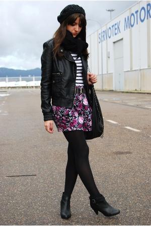 black BLANCO jacket - black H&M boots - pink BLANCO skirt - white Zara t-shirt -