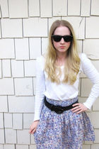 unknown brand sunglasses - thrifted target sweater - H&amp;M skirt - Forever 21 legg