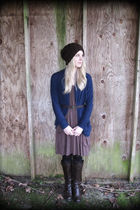 American Rag dress - Wet Seal cardigan - Forever 21 hat - American Eagle belt -