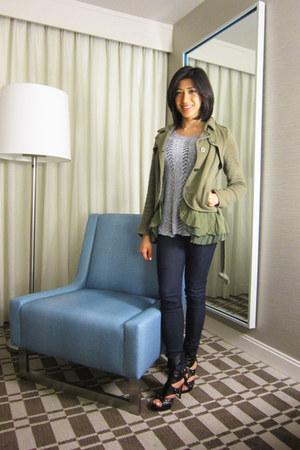 Mossimo blouse - gladiator heels shoes - olive peplum free people jacket