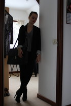 black H&M blazer - charcoal gray united colors of benetton shirt - black pants -