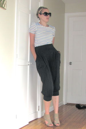 blue H&M blouse - gray Forever 21 pants - beige modcloth shoes - black sunglasse
